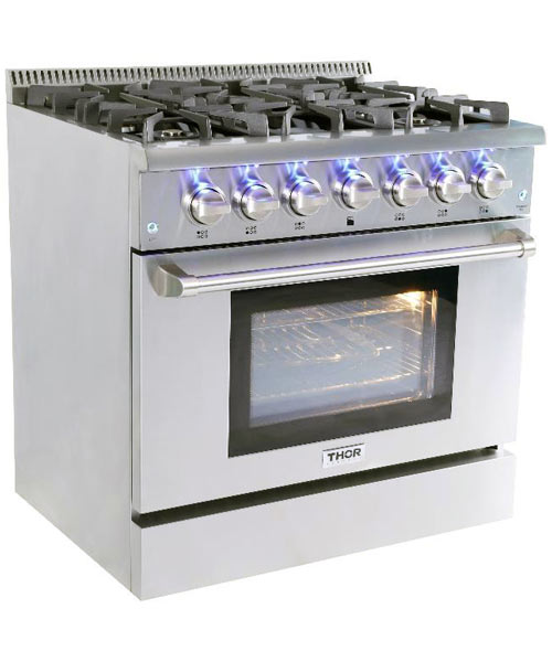 Thor 36 Inch Professional Gas Range With 6 Burners Lp Gas